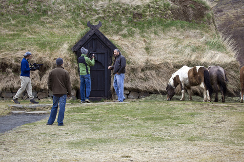 The film crew at the Reconstructed Medieval Farm